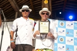 ISA President Fernando Aguerre with Xavier Aguirre, President of the Ecuatorian Surfing Federation. Credit: ISA / Rommel Gonzales