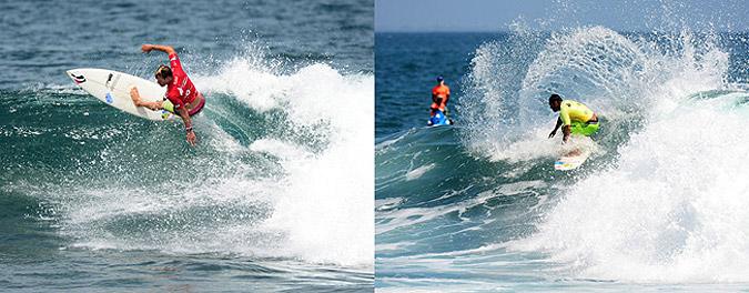 Demostrando su poderoso surf de riel a riel, el sudafricano Greg Emslie y el hawaiano Sunny Garcia llegaron a la Final de Masters. Foto: ISA/ Michael Tweddle